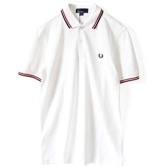 (フレッドペリー) FRED PERRY メンズ ポロシャツ 半袖 定番 [並行輸入] Twin Tipped Polo Shirt [M3600] (ホワイト/レッドネイビー[748], M)