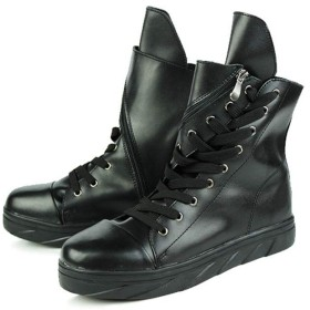 [ムリョシューズ] メンズ ショートブーツ 革靴 本革 エンジニアブーツ マーティンブーツ サイドジップ 黒/ブラック 編み上げ ハイカット インヒール 防滑 防水 歩きやすい カジュアル 日常 黒 ブラック 25.5cm 裏起毛 ウイングチップ