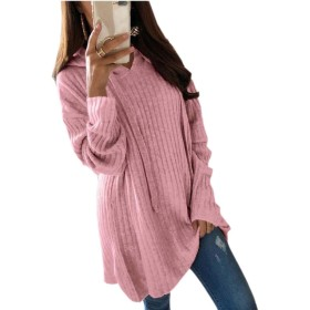Keaac Women Loose Casual Tunic Sweatshirts Solid Hoodie Pullover Tops Pink S