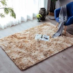 ふかふかラグ、ふわふわスーパーソフト滑り止め寝室用リビングルーム子供用カーペット-カーキ-140×200センチメートル(55×79インチ)