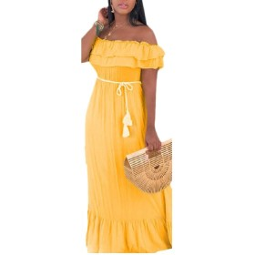 maweisong Women Sexy Belt Long Solid Color Off Shoulder Ruffle Dress Yellow L