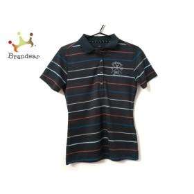 キャロウェイ 半袖ポロシャツ サイズM レディース 美品 ダークグレー×ブルー×マルチ ボーダー 新着 20190922