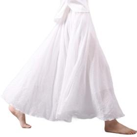 Tootess 女性のロングスキニー民族スタイルリネンスタイリッシュミニスカートスカート White L