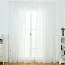 遮光カーテン カーテン 100  200cm リビングルーム ホームインテリア ウィンドウスクリーニングカーテン カフェカーテン 星柄 透かし彫り 装飾 夢 童話 1枚入り ホワイト