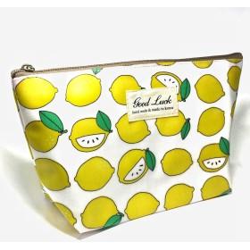 ポーチ Lサイズ かわいい 化粧ポーチ バッグインバッグ おしゃれ メイクポーチ 立ちます 収納 整理 小物入れ (まるごとレモンレモン)