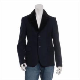 エンポリオアルマーニ ウール ジャケット 46 メンズ ネイビー 取り外し可能ラムファー