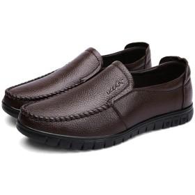 [ランボ] ドライビングシューズ メンズ ローファー スリップオン ビジネスシューズ 軽量 25.5cm モカシン 靴 紳士靴 ブラウン カジュアル デッキシューズ 仕事 通勤 普段用 大きいサイズ 小さいサイズ 24.0cm - 27.0cm