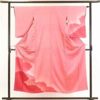 【中古】リサイクル着物 訪問着 / 正絹ピンク地裾ぼかし袷訪問着着物 / レディース【裄Sサイズ】身丈152cm 裄62cm 前幅22cm 後幅28cm