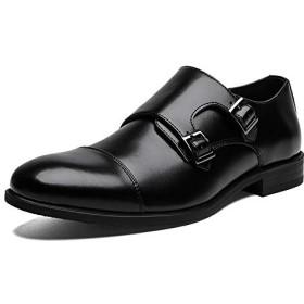 [JOYWAY] ビジネスシューズ メンズ 本革 モンクストラップ ドレスシューズ 革靴 紳士靴 3E 軽量 高級靴 ブラック ブラウン ブラック 27.0cm