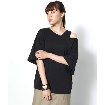 [センスオブプレイス] tシャツ 2WAYアシメネックトップ(5分袖) レディース BLACK FREE