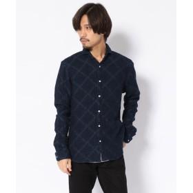 ロイヤルフラッシュ SCROLL/スクロール/二重織りインディゴアーガイルシャツ メンズ INDIGO XL 【RoyalFlash】