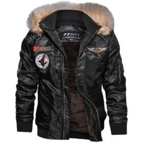 Qiangjinjiu Men's Winter Hoodie Lined Faux Fur Warm Coats Outwear Outwear Black S