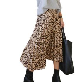 レオパード プリーツ風 ヒョウ柄 スカート フレアスカート ロング プリーツスカート 韓国ファッション ゆったり レディース