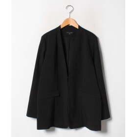 ラナン 洗える!ノーカラーボックスジャケット レディース ブラック LL 【Ranan】