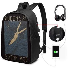大容量のバックパック USBインターフェイス付きバックパック 女王Queens Of The Stone Age 外部USBインターフェイス、1つのヘッドフォンケーブルインターフェイス 学校、アウトドアスポーツ、旅行、登山、サイクリングに適しています