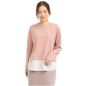 トップス カットソー Tシャツ レディース 長袖 重ね着 ロング 秋 秋 Honeys ハニーズ 異素材使いTシャツ 519011583844 ピンク M