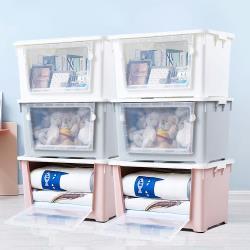 HOUSE -雙開大容量居家收納整理箱滑輪箱-6入(合色:白2入+粉2入+藍2入)
