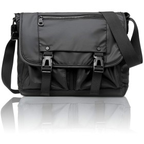 超軽量 防水 リュック バッグ ポケット10個付き メンズ ショルダーバッグ 盗難防止 ショルダーバッグ 頑丈 大容量メッセンジャーバッグ 通勤バッグ(黒い)
