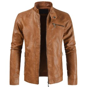 Keaac Men's Faux Leather Stand Collar PU Coats Motorcycle Jacket Outwear Brown L