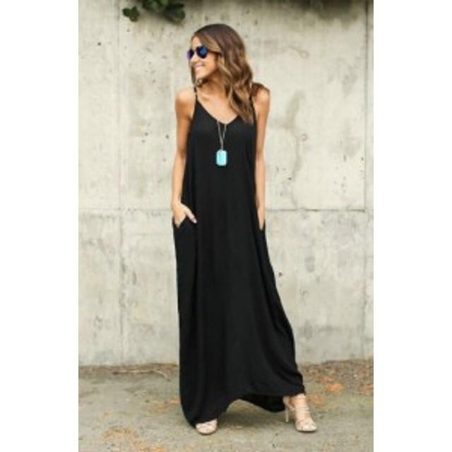 シンプルなロングドレスが色々なスタイルにマッチする ミモレ丈 ノースリーブ Vネック ハイウエスト ワンピース お出掛け お買い物 女子