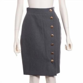 シャネル ウール スカート サイズ36 レディース グレー ココボタン