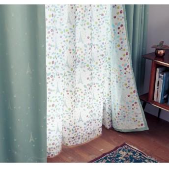 [ベルメゾン] レースカーテン UVカット 遮熱 遮像 洗える ミニラボ パリの果樹園 約100×108(2枚)