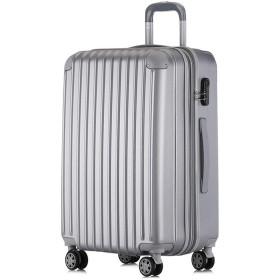 トロリースーツケース 無地プラス高層ジッパー20インチユニバーサルホイール搭乗女性24インチスーツケースメンズ荷物ビジネストラベルパスワード荷物(7色オプション) 旅行、ビジネス用 (色 : 銀, サイズ : 24Inch)