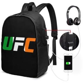 UFC 総合格闘技 リュックサック 17インチ バックパック 通勤 通学ビジネスバッグ USBポート付き レインカバー付き 盗難防止 アウトドア 高校生 大学生 男女兼用 新品 17x 12 X 6.5in