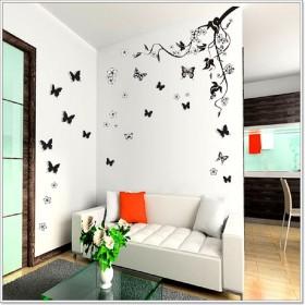 Huge 3D Butterfly Vine Flowers Wall Stickers Decals Wallpaper