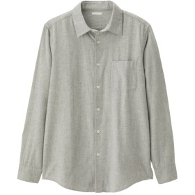 (GU)フランネルシャツ(長袖)CL+E GRAY XL