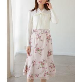 トッコクローゼット 裾レース装飾マーメイドフラワープリントスカート レディース PINK M 【tocco closet】