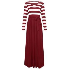 chenshiba-JP 女性のファッションマキシは、ポケット付きロングノースリーブドレス 4 S