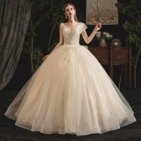 ウエディングドレス ロング丈 超豪華 レース 刺繍 Vネック 気質 優雅 大きいサイズ 結婚式 二次会 演奏会 花嫁 撮影 編み上げ式