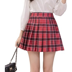 NOLCCTN プリーツ スカート ミニ Aライン セクシー ハイウエスト レデース 裏地付き シンプル おしゃれ 無地 美脚 チェック柄 サイズ XS~2XL 制服スカート (XL, E:ワインレッドのチェック)