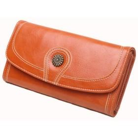 Kegiani 長財布 レディース 大容量 小銭入れ カード入れ PUレザー 皮革 おしゃれ 人気 オレンジ