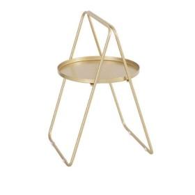 ソファサイドテーブルA形錬鉄小さな丸いコーヒーテーブル北欧シンプルなベッドルームリビングルーム屋外ソファテーブル読書テーブル,Golden