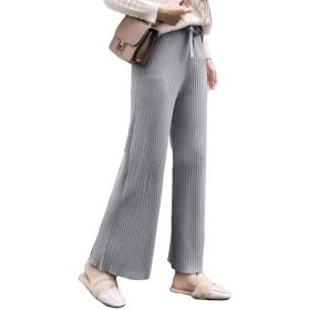 リブニットワイドパンツ 締め付け感なくストレスフリー ワイドパンツ ニット 美脚パンツ 韓国ファッション ゆったり レディース