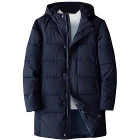 WAWAYA メンズルーズフィットは、冬の中長フードダウンコートコートジャケットアウターウェア Navy Blue 3XL