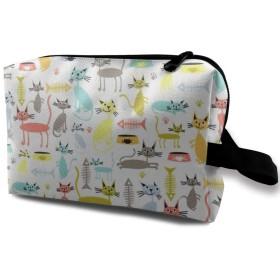 化粧ポーチ 猫と魚の骨 携帯用 化粧ポーチ 大容量 軽い 旅行ポーチ 洗面用具入れ 化粧ポーチ 収納 ハンドバッグ 財布 防水