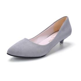 [Aisxle] ローヒール パンプス ビジネス オフィス 面接 就活 靴 痛くない ヒール3cm 歩きやすい 防水 防滑 美脚 シンプル 黒 白 (22.5cm, グレー(スエード))