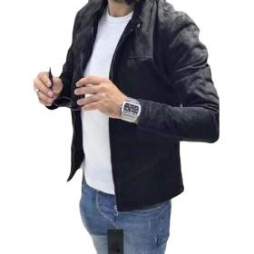 Fly Year-JP メンズ ジャケット フェイクスエード スリム フィット フルジップ フォール & ウィンター モト バイカー アウター ウェア コート Black X-Small