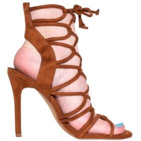 [Kolnoo] 新しい手作りレディースハイヒールサンダルスリングバック靴紐ファッションパーティーウエディング夏の靴 ブラウン 27.5cm
