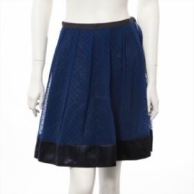 サカイラック キュプラ スカート サイズ1 レディース ブルー ドットに白い繊維の付着有り