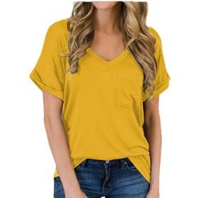 YAXINHE 女性のブラウス半袖Vネックカジュアル固体夏のティー Yellow XL