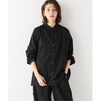 BONUM ARTE POVERA 120/2サテンコットン トラックシャツ ブラック S