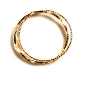 18金 ヨリ線 + 角線ねじり 2 連 リング 指輪 18k ( ポーチ 付き ) (9)