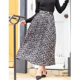 (GROWINGRICH/グローウィングリッチ)[ボトムス スカート]レオパードプリーツロングスカート[190920]穿くだけでお洒落なひと/レディース グレー