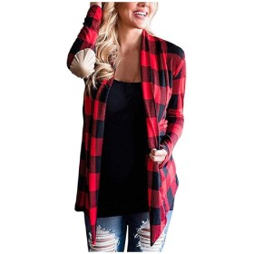 Beeatree Womens Plaid Pattern Shirts Patched Cardigan Outwear Coat Red M