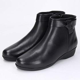 [カルロロセッティ] 19秋冬 履きやすい!ウェッジショートブーツ【ブラック/22.5】