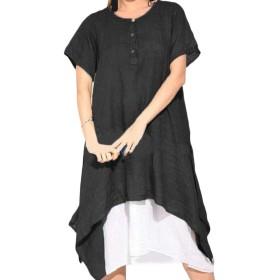 JSYJP 女性のリネン不規則半袖カジュアルルーズフィットミディドレス Black M
